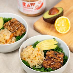 kale salad with sauerkraut