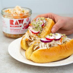 Raw vibrant living organic vegan sauerkraut hot dog