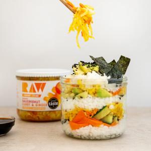 raw vibrant living vegan gluten free recipe Deconstructed sauerkraut sushi jar