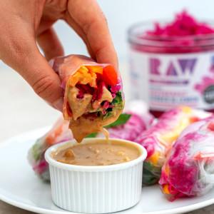 vegan organic raw vibrant living summer rolls with peanut sauce